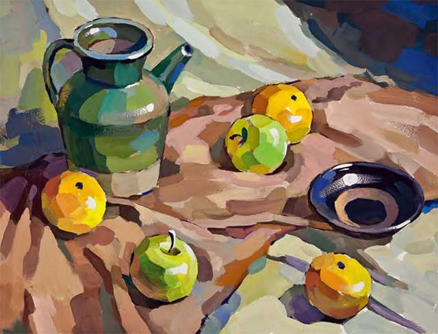 陶罐、土陶碗和水果的组合步骤五