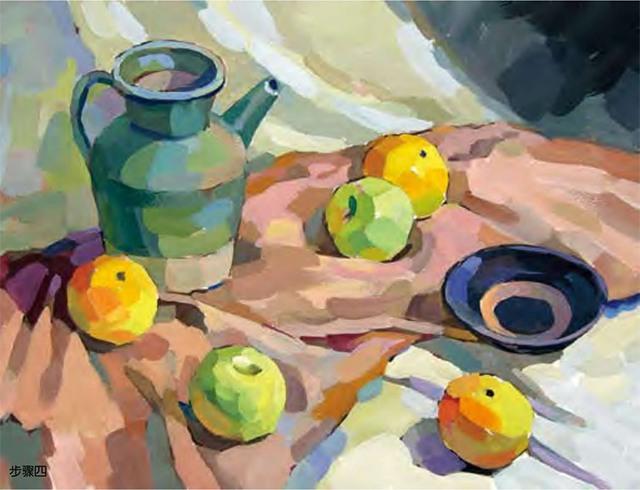 陶罐、土陶碗和水果的组合步骤四