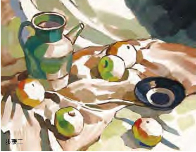 陶罐、土陶碗和水果的组合步骤二