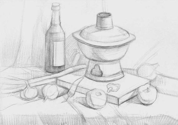 蔬菜类素描组合的画法(二)