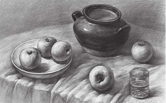 水果类素描组合的画法(四