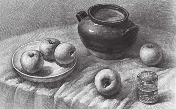 水果类素描组合的画法(五)