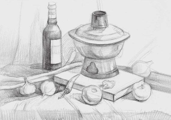 蔬菜类素描组合的画法(三)