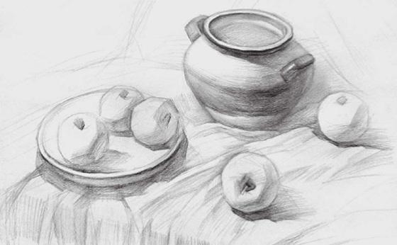 水果类素描组合的画法(三)