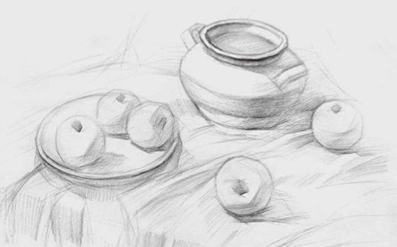 水果类素描组合的画法(二)