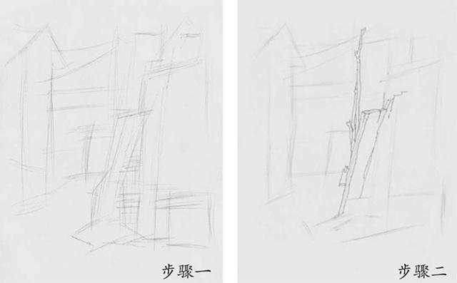 速写农舍土墙的画法步骤一和二