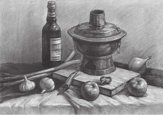 蔬菜类素描组合的画法(五)