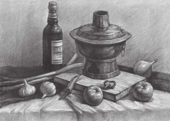 蔬菜类素描组合的画法(四)