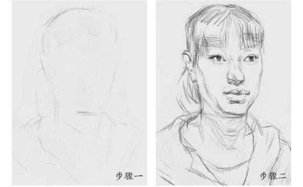 女青年素描头像步骤一和二