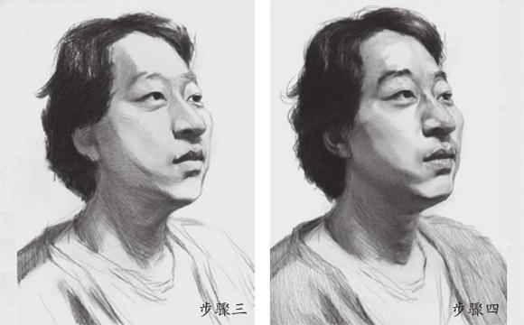 男中年素描头像怎么画三和四