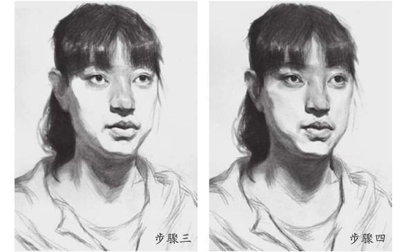 女青年素描头像三和四