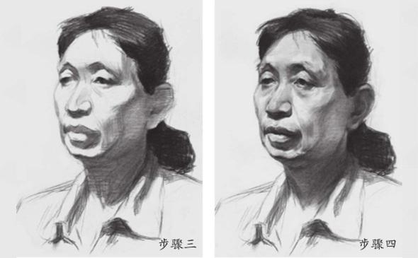 女性老年人素描头像三和四