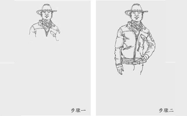 速写男站姿的画法一和二