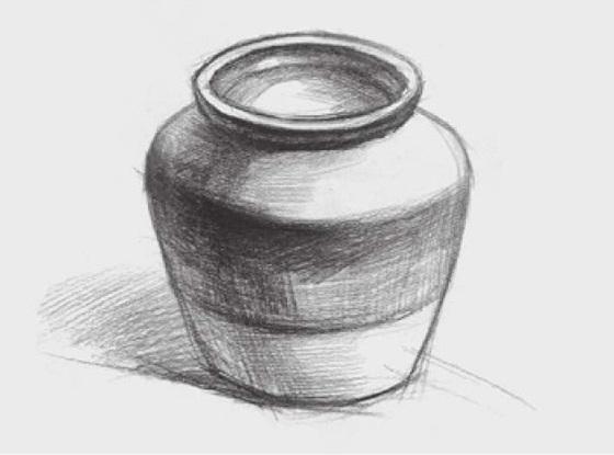 宽口陶罐的画法(3)