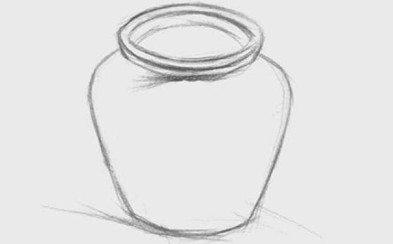 宽口陶罐的画法(1)