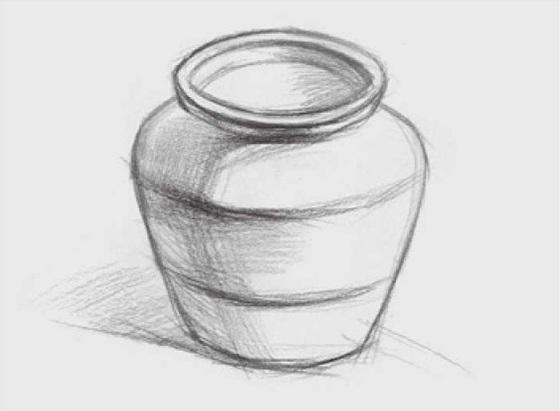宽口陶罐的画法(2)