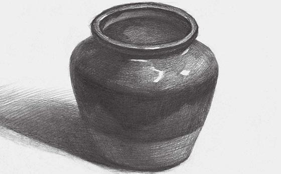 宽口陶罐的画法(4)