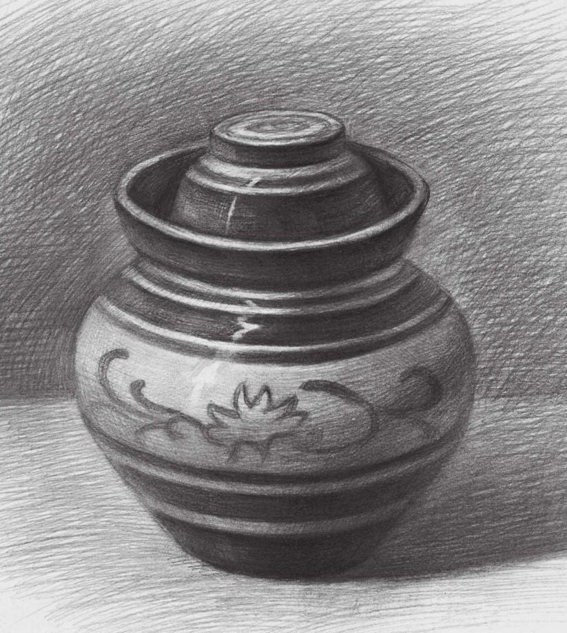 素描印花陶罐完成图