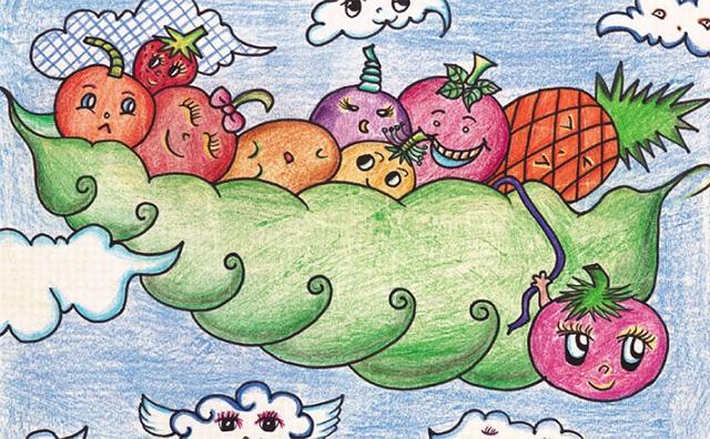 水果宝宝彩铅笔画完成图