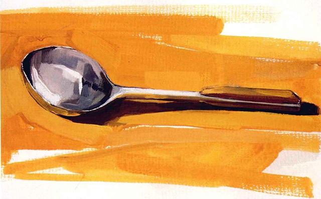 单体静物勺子水粉画法步骤(5)