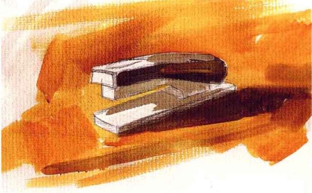 订书机水粉画怎么画(3)