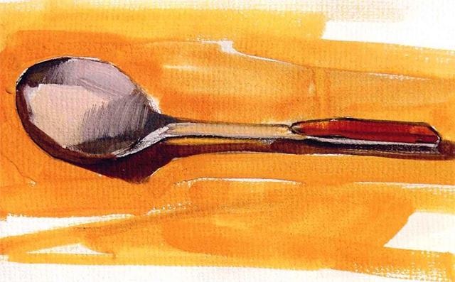 单体静物勺子水粉画法步骤(4)