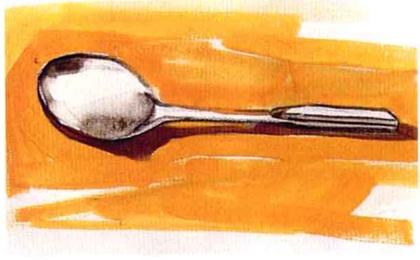 单体静物勺子水粉画法步骤(3)