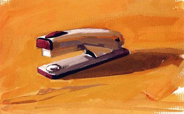 订书机水粉画怎么画(5)