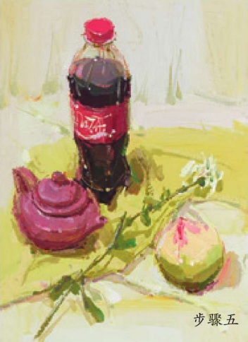 可口可乐茶壶水果色彩组合的画法(五)