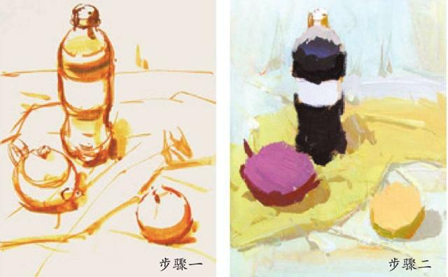 可口可乐茶壶水果色彩组合的画法(一和二)