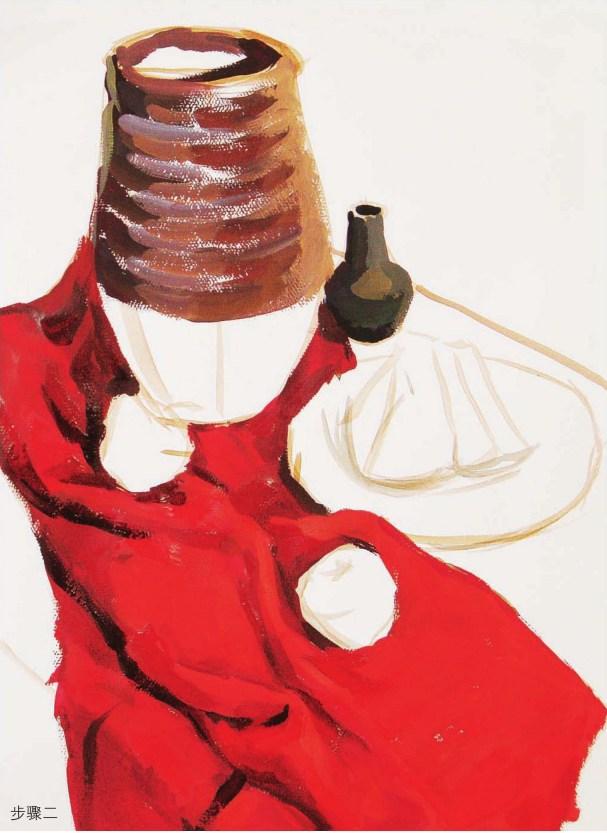 红色衬布上的陶罐作画步骤二