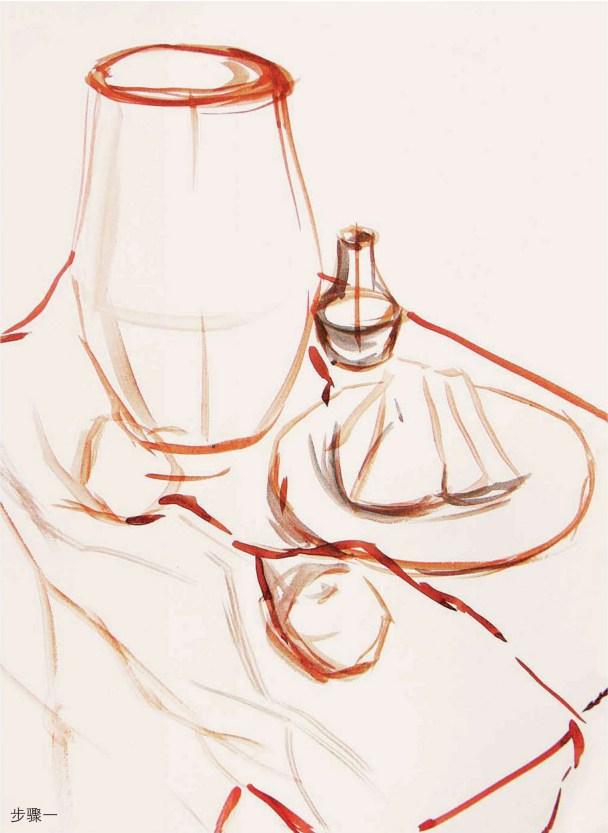 红色衬布上的陶罐作画步骤一