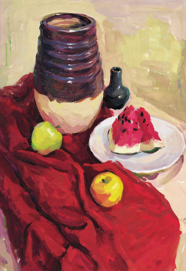 红色衬布上的陶罐作画步骤四