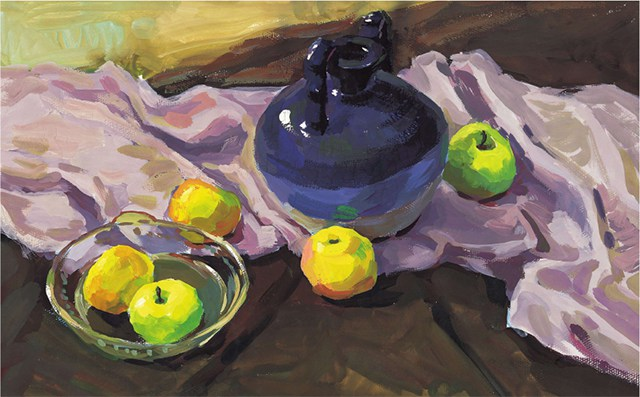 《陶罐、玻璃碗与水果》作画步骤(5)