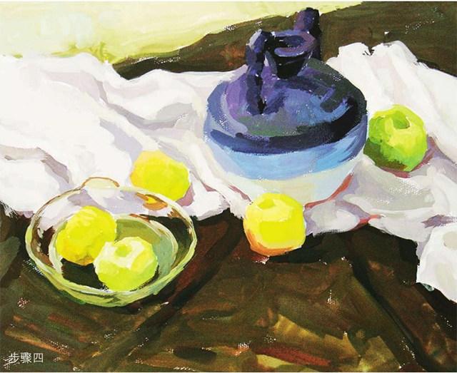 《陶罐、玻璃碗与水果》作画步骤(4)