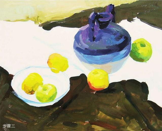 《陶罐、玻璃碗与水果》作画步骤(3)