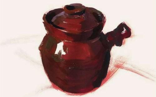 带手柄的陶罐的表现技法解析(3)
