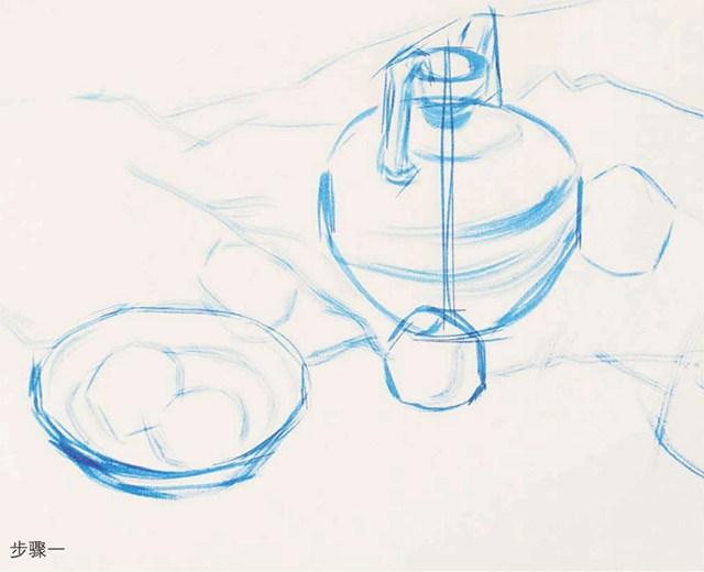 《陶罐、玻璃碗与水果》作画步骤(1)