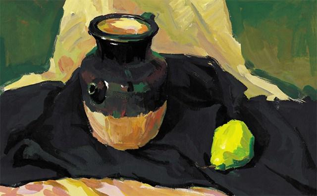 色彩陶罐与梨作画步骤(5)