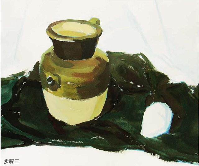 色彩陶罐与梨作画步骤(3)
