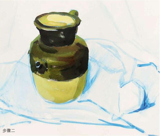 色彩陶罐与梨作画步骤(2)