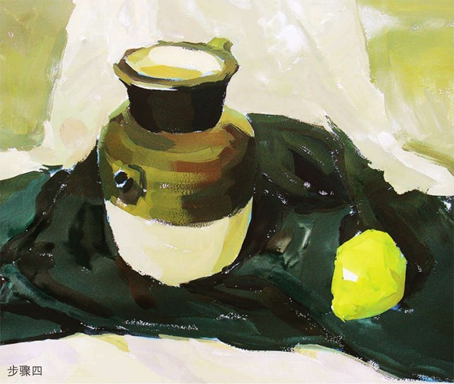色彩陶罐与梨作画步骤(4)