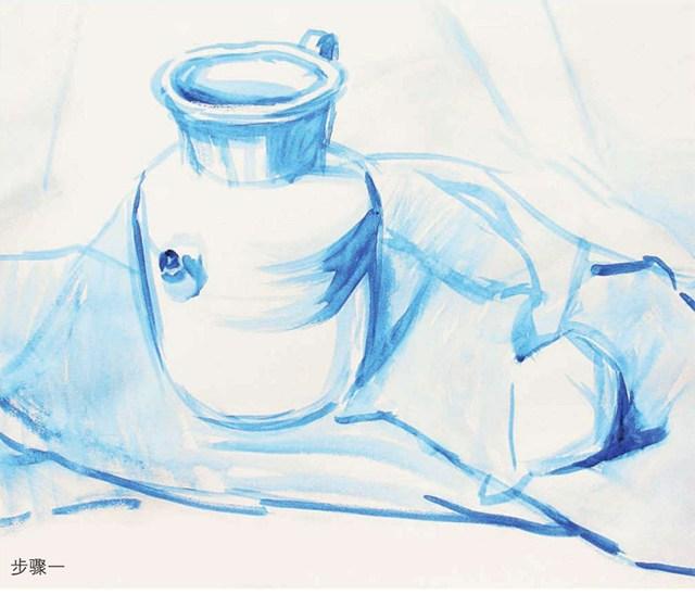 色彩陶罐与梨作画步骤(1)