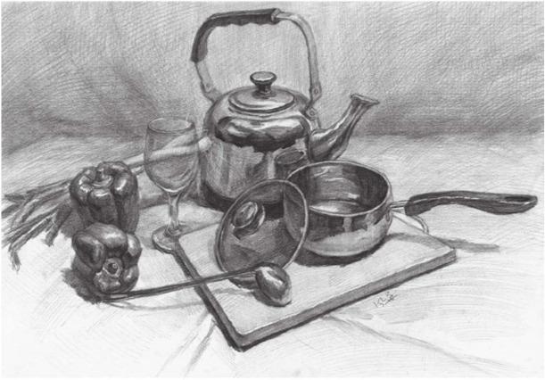 素描金属器皿类组合的画法(4)