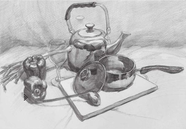 素描金属器皿类组合的画法(3)