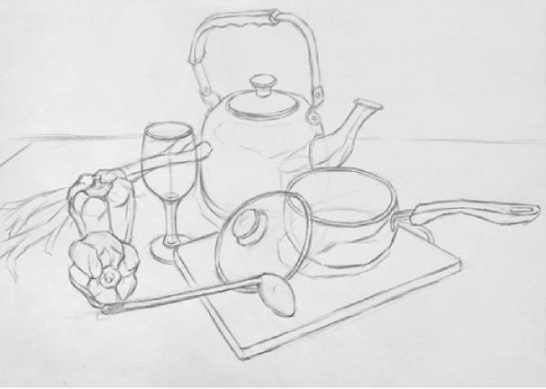 素描金属器皿类组合的画法(1)
