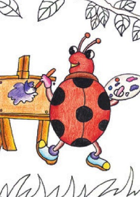 爱画画的七星瓢虫绘画步骤(3)
