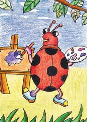 爱画画的七星瓢虫绘画步骤(5)