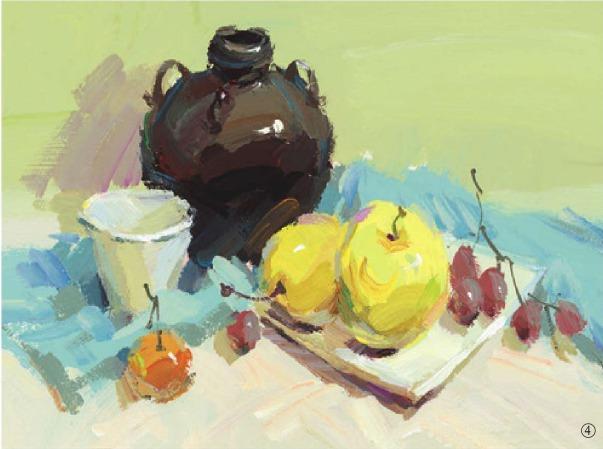 色彩酒坛与水果组合的画法(4)
