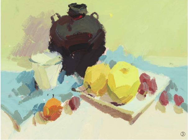 色彩酒坛与水果组合的画法(2)